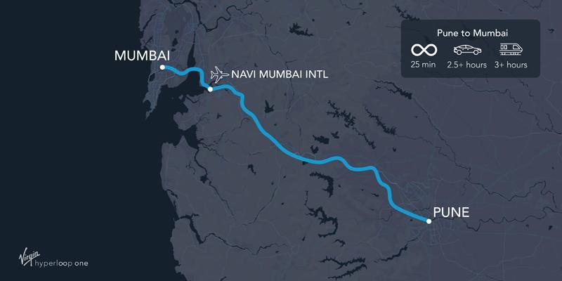 Ruta que proyecta la compañía Hyperloop One para su construcción en India.
