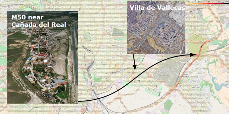 """En la imagen, la herramienta data.geotab muestra un """"punto negro"""" en el que no hay cobertura móvil en Madrid."""