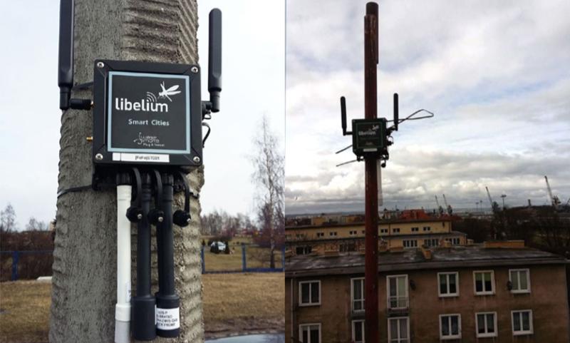 Nodos de sensores de Libelium ubicados en diferentes espacios para recoger la información sobre diferentes parámetros.
