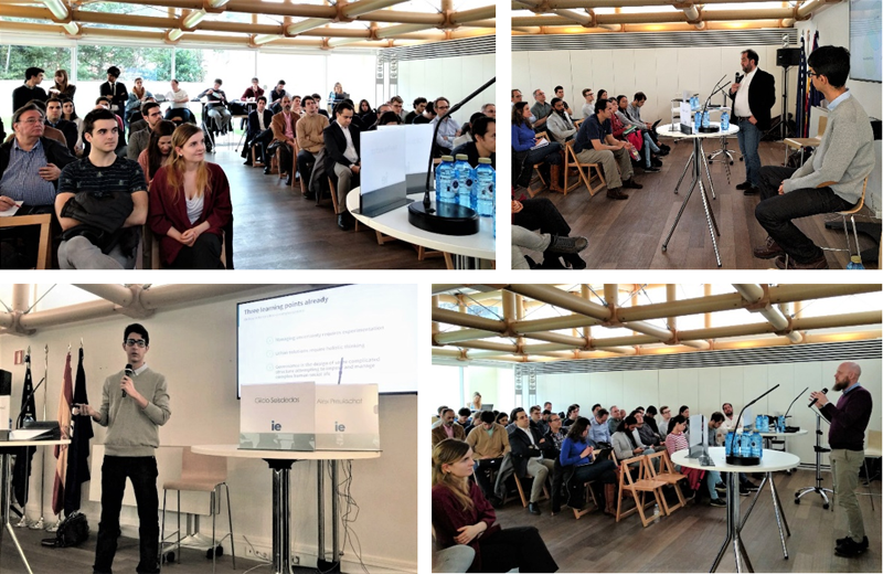 Figura 1. Fotografías de la Presentación del Proyecto Blockchain4Cities en la escuela IE Business School, marzo 2018.