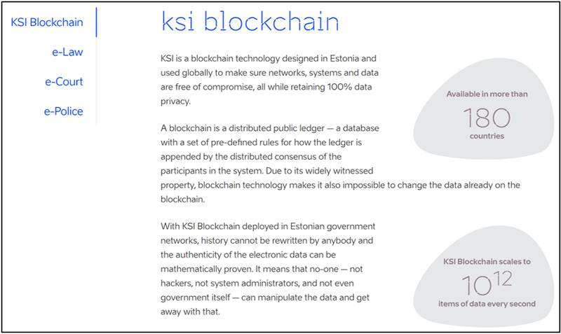 Figura 3. Página web de Estonia que presenta sus proyectos Blockchain.
