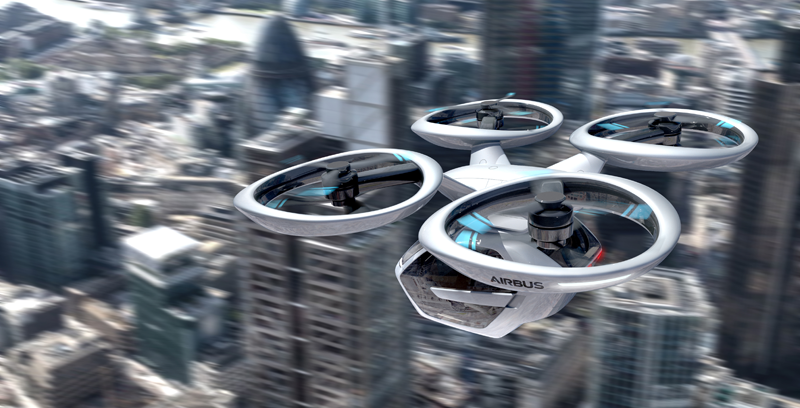 Recreación de lo que podría ser una nueva forma de moverse por la ciudad en el futuro, mediante taxis voladores.