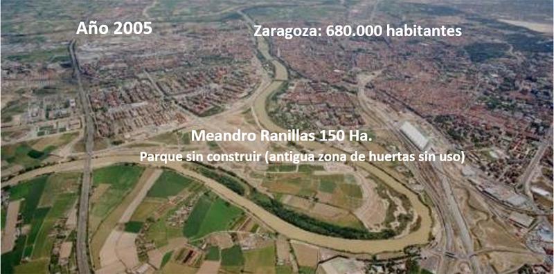 Figura 1. Vista aérea de la zona donde se ubicará el Parque del Agua y la Expo 2008 (Meandro Ranillas de Zaragoza).