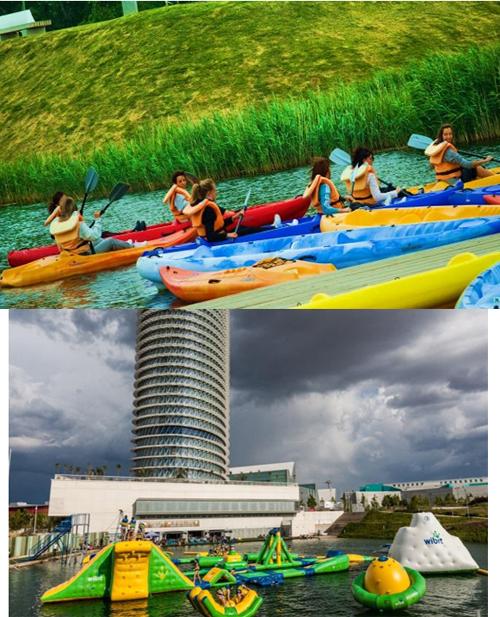 Figura 4. Uso de canales interiores para fomentar kayak entre escolares y uso de lagos para actividades lúdicas.