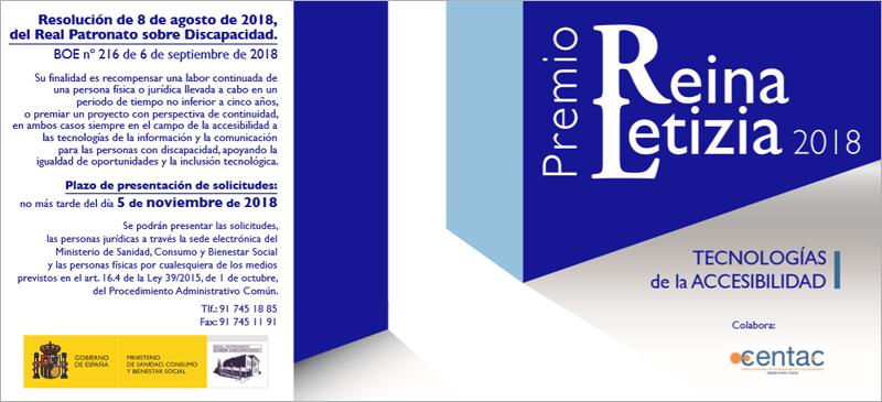 El plazo de presentación de candidaturas a Premio Reina Letizia en Tecnologías de la Accesibilidad estará abierto hasta el 5 de noviembre.