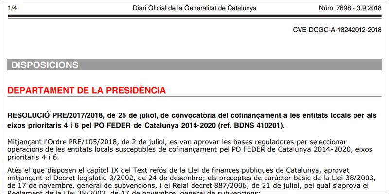Publicación de la convocatoria de ayudas del Programa Operativo Feder para proyectos de ayuntamientos de más de 20.000 habitantes, comarcas y diputaciones.