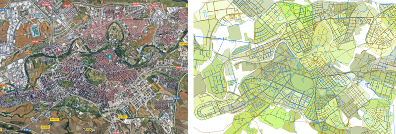 Figura 1. Imagen satélite de la ciudad de Pamplona y Red de tuberías de abastecimiento y colectores de saneamiento en GIS.