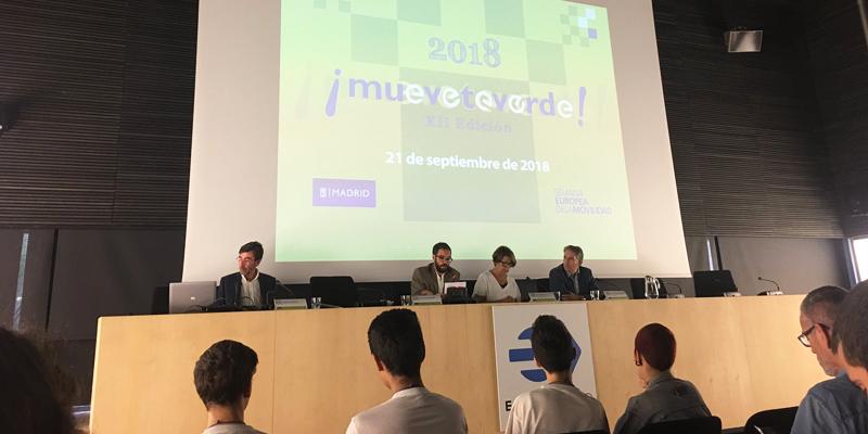 """Acto de entrega del premio """"Muévete Verde"""" 2018 en el Ayuntamiento de Madrid presidido por la concejala Inés Sabanés."""
