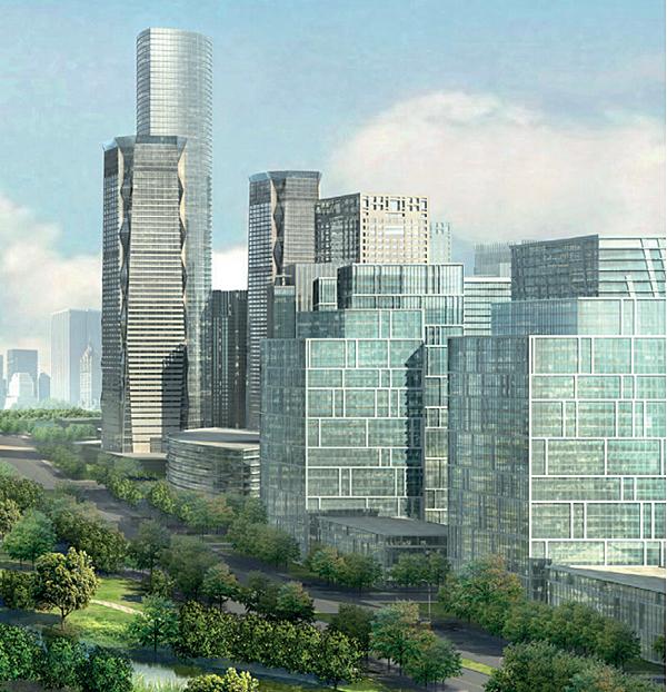 Infografía con altos edificios de una ciudad y zonas verdes
