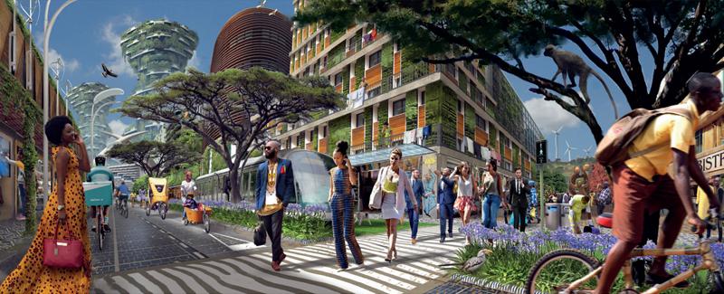 Imagen de vector de una ciudad africana sostenible en la que se circula en bici, hay energías renovables e integración entre personas y naturaleza