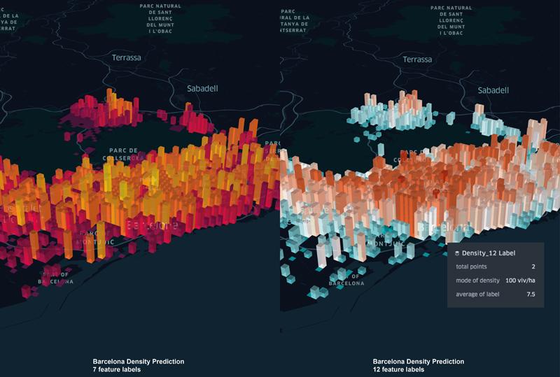 Representación visual de la predicción de densidad para Barcelona del modelo predictivo desarrollado por el arquitecto y urbanista Alejandro Cantera.