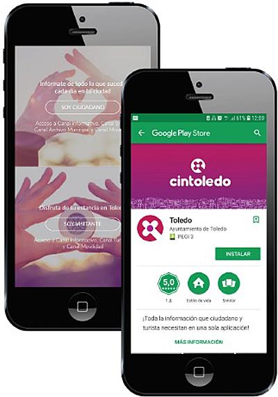 Dos teléfonos móviles inteligentes muestran la interfaz de la aplicación cintoledo. Se ha puesto en marcha una aplicación que ofrece información de utilidad para turistas y vecinos de Toledo, pero también es un canal de comunicación de la ciudadanía con las autoridades locales.