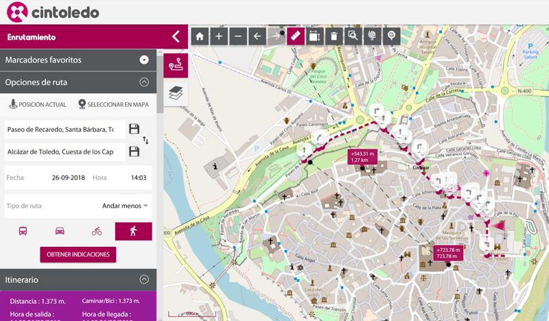 Interfaz de búsqueda sobre un mapa de Toledo para establecer rutas. El planificador de rutas intermodal facilita todo tipo de información para moverse por la ciudad.