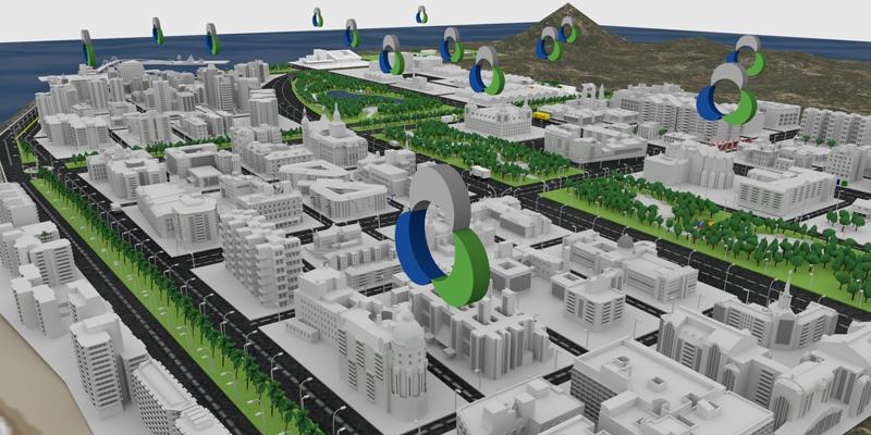Imagen de vectores de un ejemplo de ciudad con el logo de Urbaser señalando cada uno de los activos que tiene repartidos
