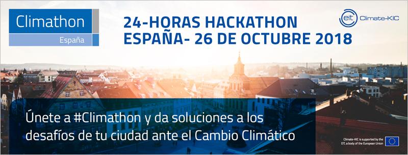 Foto: cartel que anuncia el Climathon. El Climathon está abierto a la participación de cualquier persona con ideas innovadoras para resolver desafíos de las ciudades vinculados al cambio climático.