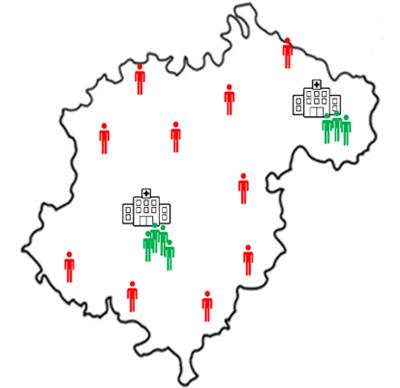 Figura 2. Esquema de la población de la provincia de Teruel, se representan los centros hospitalarios de referencia y la dispersión poblacional respecto a los mismos.