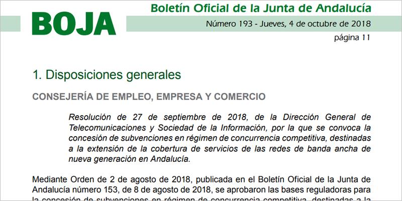 Extracto de la convocatoria de ayudas para desplegar redes ultrarrápidas dirigida a operadas de telecomunicaciones y dotada con 10 millones de euros.