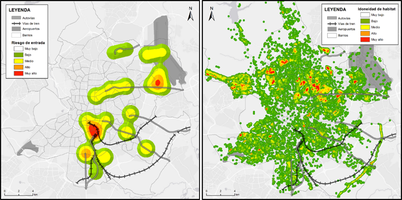 Figura 1. Zonas con mayor probabilidad de introducción del mosquito tigre en la ciudad de Madrid. Figura 2. Cartografía temática idoneidad hábitats para el mosquito tigre en la ciudad de Madrid.