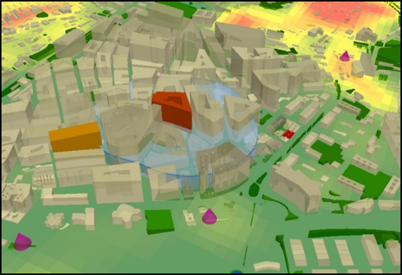 Figura 3. Ejemplo de cartografía nible ante un eventual caso de enfermedad vectorial en la ciudad.