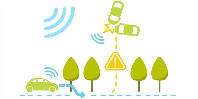 Esquema con vehículos conectados, árboles y vehículos no conectados que se chocan entre ellos.