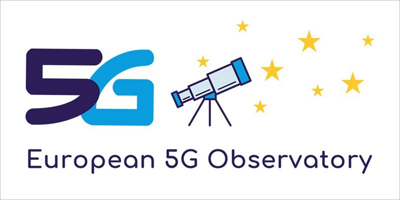 Logotipo del Observatorio Europeo 5G formado por un 5 y una G junto a un telescopio que enfoca estrellas amarillas. El Observatorio Europeo sobre 5G fue creado por la Comisión Europea el pasado mes de febrero y ahora ha presentado su plantaforma en línea y su primer informe.