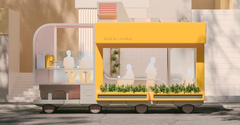 Tomar una café en la cafetería en movimiento de este vehículo sin conductor es otra de las opciones.