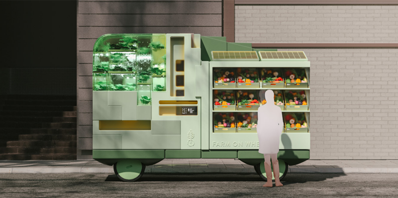 Un vehículo sin conductor que se convierte en huerto rodante y tienda de productos locales.
