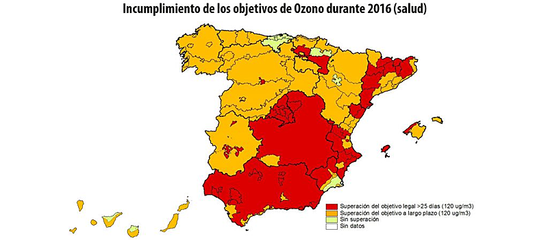 Mapa de 2016 que muestra las regiones y zonas de España en las que se superaron los niveles de ozono en el aire.