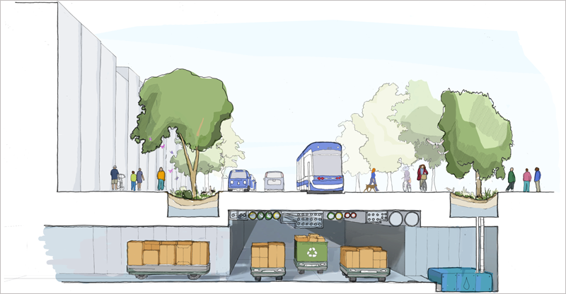 La idea que la empresa hermana de Google, Sidewalk Labs, y Waterfront Toronto quieren desarrollar, incluye vehículos autónomos para personas y mercancías, con vías específicas, y reutilización del calor para convertirlo en energía.