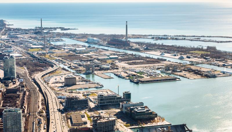 Vista aérea de la zona que va a convertir en distrito inteligente el proyecto Sidewalk Toronto.