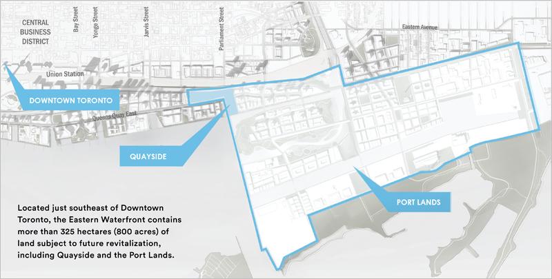 Mapa del espacio de más de 325 hectáreas donde se va a llevar a cabo el proyecto de distrito inteligente de Sidewalk Toronto.