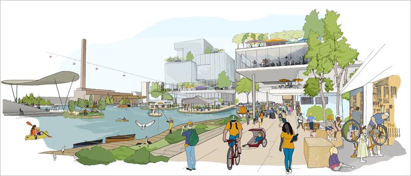 Diseño de una de las zonas de futuro distrito inteligente de Toronto. Fotos del artículo: Sidewalk Toronto.