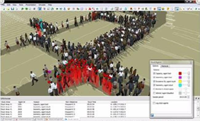 Figura 3. Modelado de muchedumbres a la iquierda, y ejecución del algoritmo para el calculo de densidad de muchedumbres a la derecha.