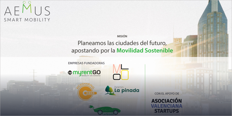 Imagen de la página web del colectivo empresaria Aemus para el impulso de la movilidad sostenible.