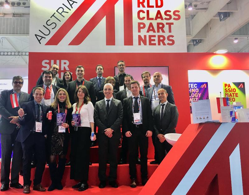 Advantage Austria agrupó a 11 empresas austriacas especializadas en tecnologías para smart cities. Foto de familia.