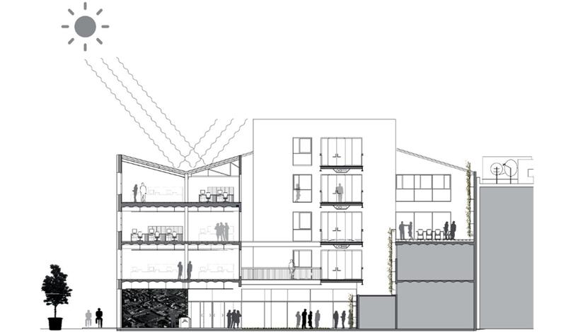 Figura 1. Sección del edificio 22WORKS.