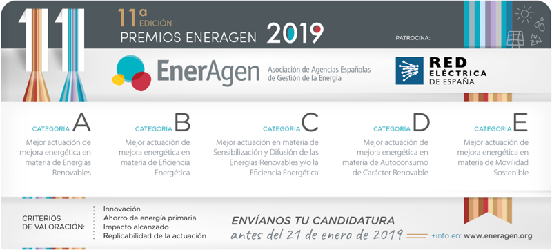 Las candidaturas a la convocatoria de los Premios EnerAgen 2019 pueden presentarse antes del 21 de enero.