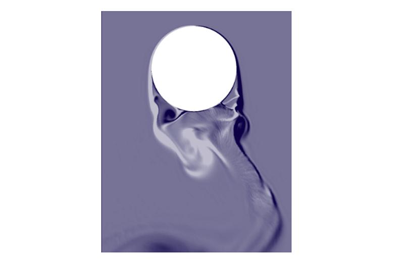 Figura 3. Simulación [1] CFD de la generación de remolinos tras su paso por una estructura de sección circular.