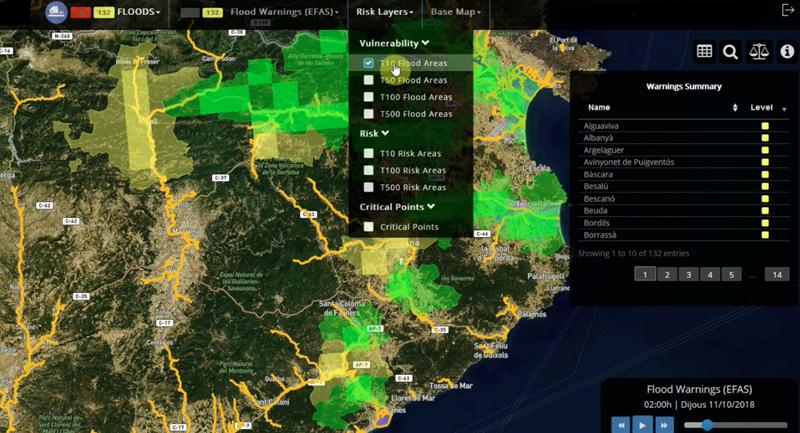 La plataforma A4EU se ha adaptado a las necesidades locales de cada una de las seis regiones piloto en función de sus propios riesgos, como es el caso de Cataluña, afectada con relativa frecuencia por inundaciones.