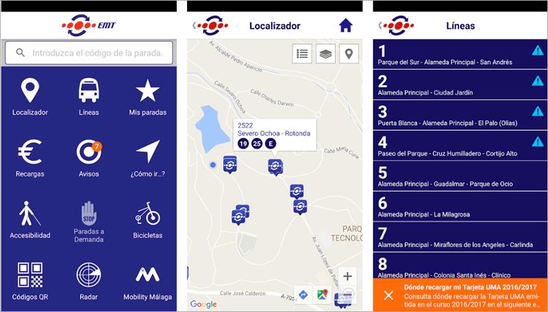 App de la EMT de Málaga que incorpora nuevas funcionalidades como el pago mediante NFC y mejoras en la accesibilidad.
