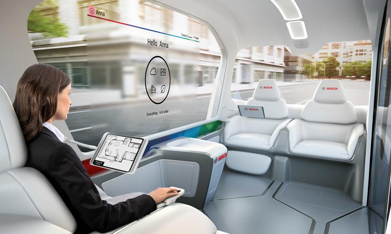 Imagen que muestra cómo será el interior del vehículo lanzadera, eléctrico y sin conductor, que presenta Bosch en Las Vegas estos días.