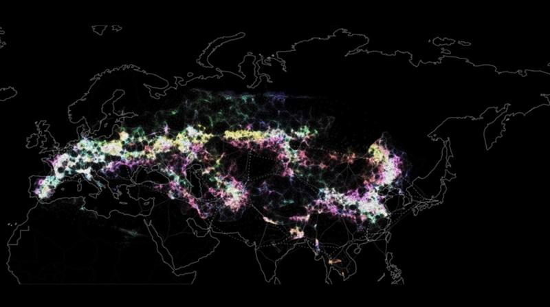 Figuras 3, 4 y 5. M.E.D. VISTA PARCIAL DEL MASTER PLAN. Las zonas blancas indican la localización óptima que el sistema computacional detecta y finalmente elige, basado en una serie de multiciplicidad de datos , basados fundamentalmente en ela orientación , erecursos hídricos, clima, vientos dominantes, orografía, conexiones, vegetación , arboldo y clima: data sostenibles a escala territorial metadayso, que configuran el sistema de Metasostenobilidad. Las zonas rojas son las de menor habitabilidad.