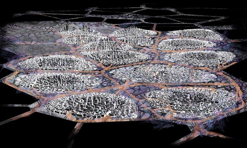 Figura 6. HIPERCLUSTER M.E.D. : Configurada por los Hiperclusters, son ciudades altamente densificadas, y readaptables en tiempo real en fucnión de los cambios socioeconómicos , políticos y medioambientales