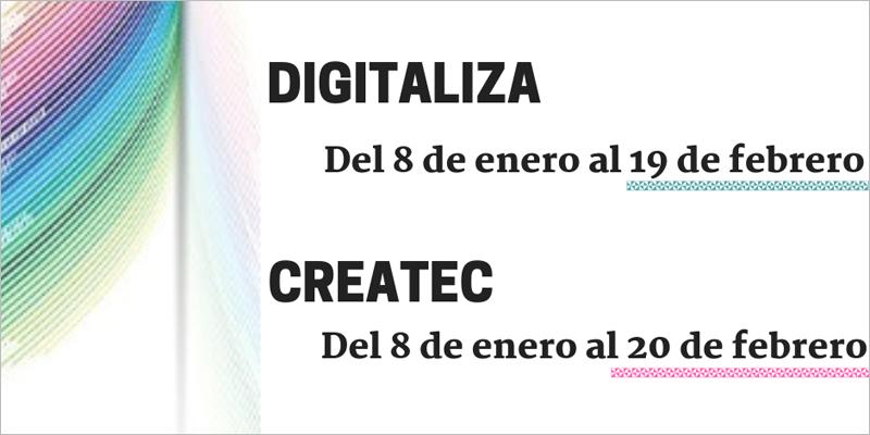 La convocatoria Digitaliza destina 6,5 millones de euros a proyectos de digitalización de pymes y Createc cuenta con 1,5 millones de presupuesto para la creación de empresas de base tecnológica.