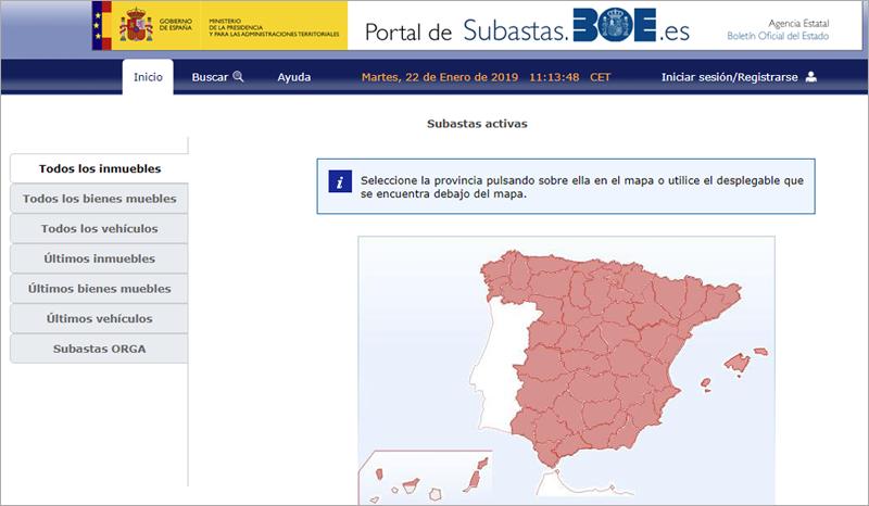 El Portal de Subastas BOE engloba en una única plataforma todas las subastas judiciales, tributarias y administrativos de organismos estatales.