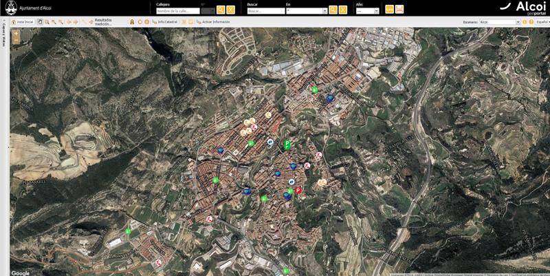 Imagen del geoportal de la ciudad de Alcoy, una herramienta que ofrece información sobre servicios de la ciudad, incidencias, campañas de participación, etc.