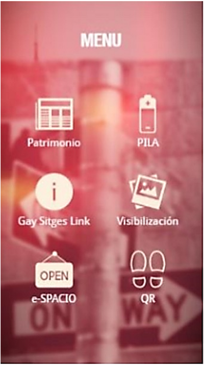 Figura 2. Captura de la aplicación móvil e-spacio Sitges.