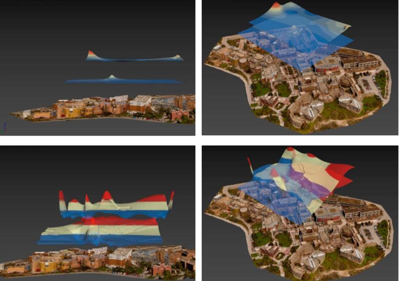 Mapas en 3D de CO y CO2 obtenidos con el uso del dron equipado con sensores en el campus de la Universidad de Técnica de Creta.