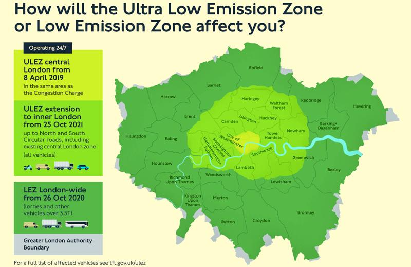 Mapa de Londres que refleja el área de Ultrabajas Emisiones y su implantación este año y en años posteriores.
