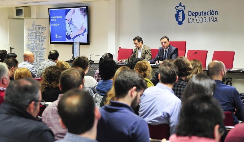 Presentación del programa PEL-Ciudad Digital para implantar la Administración electrónica en los municipios de la provincia de A Coruña con menos de 20.000 habitantes.